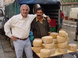 Greek cheese in Naxos Market