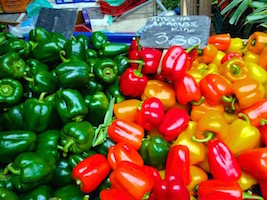 peppers in athens market